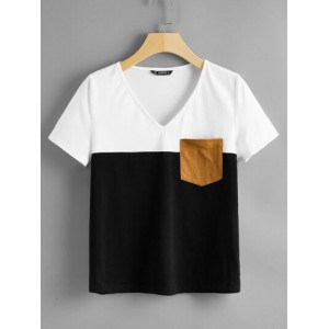 Pocket Patched Color Block Top  SYCOVHU