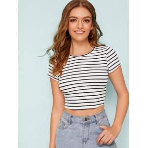 Ribbed Striped Cropped Tee  MSQAEFH