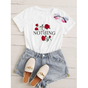 Roll Up Sleeve Flower & Letter Graphic Tee  MWFVJEB