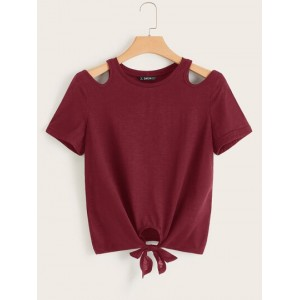 Solid Cut-out Sleeve Tie Front Top  DAAOHCU