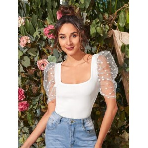 Square Neck Sheer Dobby Mesh Puff Sleeve Top  OFSPXNG