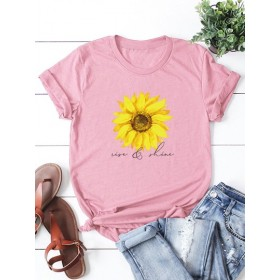 Sunflower & Letter Graphic Tee  CFLXDOY