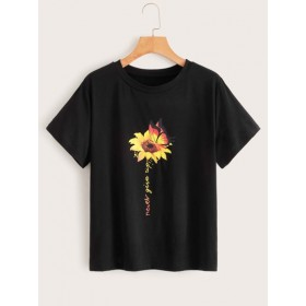 Sunflower & Letter Graphic Tee  OBXGKFW