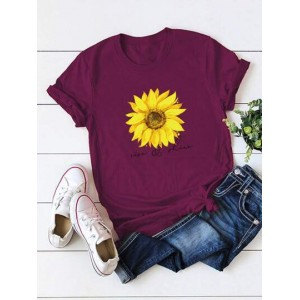 Sunflower And Letter Graphic Tee  SBZWVSV