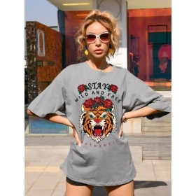 Tiger And Slogan Graphic Tee  MECNAZL