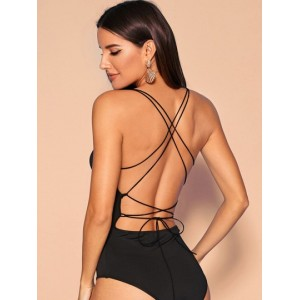 Strappy Backless Solid Cami Bodysuit  EJENTTS