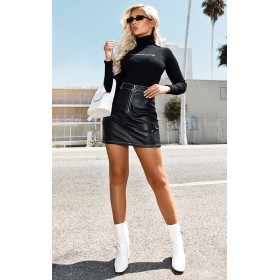 Black Faux Leather Contrast Stitch Mini Skirt | Versace Womens Skirts CLY3203