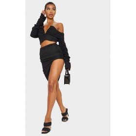 Black Woven Ruched Side Asymmetrical Midi Skirt | Skirt Sets Womens 2 Piece Outfits CMN1030