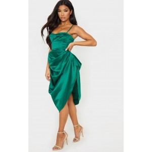 Emerald Green Satin Woven Ruched Side Midi Skirt | 3 Piece Skirt Sets For Womens CMG1492