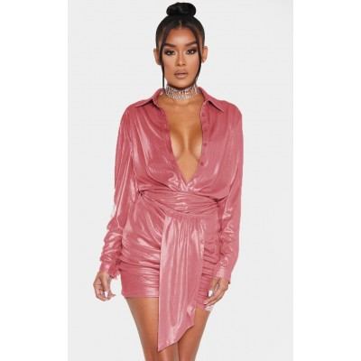 Pink Metallic Ruched Mini Skirt   Co-Ords   CMF4673