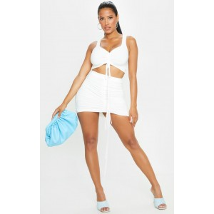 Shape White Slinky Ruched Front Bodycon Skirt   CMM4452