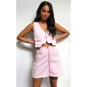 Washed Pink Denim Zip Skirt | Denim | Womens Skirts For Party CMH4890
