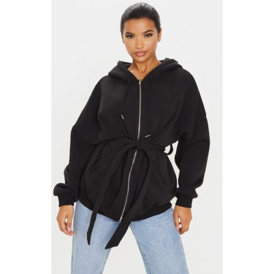 Black Belted Hoodie | Coats & Jackets | CMF3468