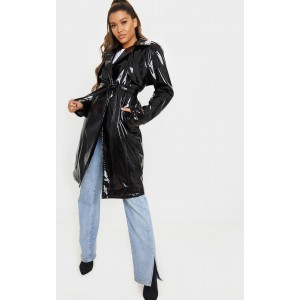 Black Belted Patent Trench Coat   CMG2941
