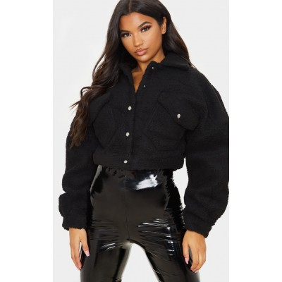 Black Borg Cropped Trucker Jacket | CLW0501