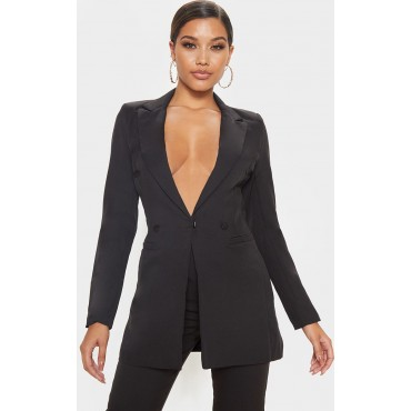 Black Double Breasted Woven Blazer   Co-Ords   CMF0481