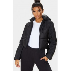 Black Hooded Cropped Puffer | Coats & Jackets | CLX9235