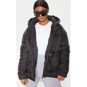 Black Pocket Front Hooded Puffer | CMC4219