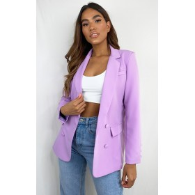 Lilac Double Breasted Pocket Detail Woven Blazer   CML5453