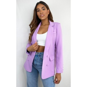 Lilac Double Breasted Pocket Detail Woven Blazer | CML5453