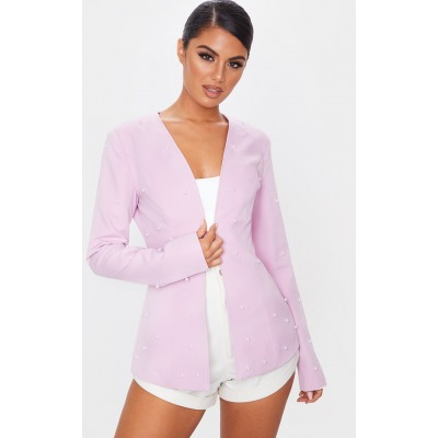 Lilac Pearl Detail Fitted Blazer | CMK3811