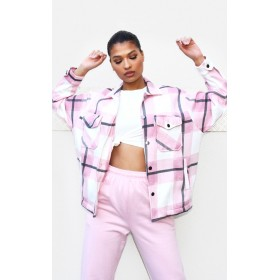 Pink Checked Pocket Front Shacket | CML9155
