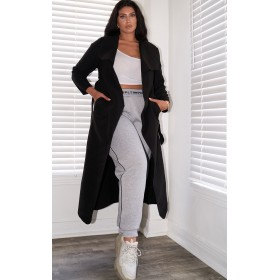 Plus Black Maxi Oversized Waterfall Belted Coat | CML1704