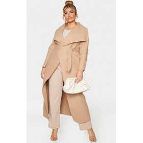 Plus Camel Maxi Oversized Waterfall Belted Coat | CML1701