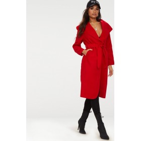 Red Oversized Waterfall Belted Coat. Coats & Jackets | CLT5016