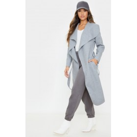 Veronica Silvery Grey Oversized Waterfall Belted Coat | CLS7282