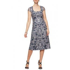 Alex Evenings Womens Dress with Scoop Neck Navy byylDVeK