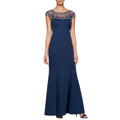 Alex Evenings Womens Long Sleeveless Fit and Flare Gown Navy F6WG7XiC