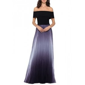 Betsy & Adam Womens Off the Shoulder Pleat Bottom A-Line Gown Black/Sliver TMhB8G7E