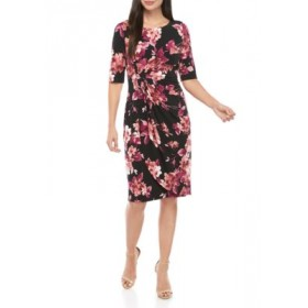 Connected Apparel Short Sleeve Floral Side Ruched Dress Rosewood TXRO8Wma