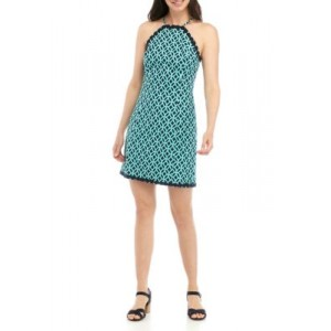 Crown & Ivy™ Sleeveless Halter Printed Dress Navy/Turquoise AolicisC