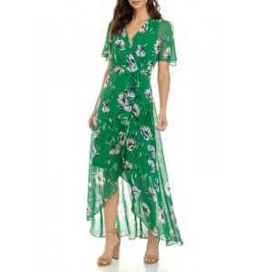 Jessica Howard Womens Butterfly Sleeve Surplus Bodice Maxi Dress with High Low Wrap Skirt and Tie Sash Green Multi U1oR5PAH