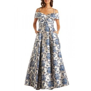 Morgan & Co. Womens Off the Shoulder Jacquard Metallic Ballgown Navy/Champagne a4owPn5T