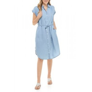 New Directions® Womens Tie Button Front Dress Light Wash 3uDo8ijw