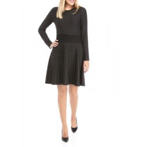 THE LIMITED Womens Fit and Flare Dress Black/Dark Grey 2ma3gR40