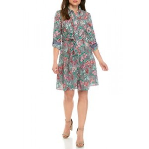Tommy Hilfiger Womens Long Sleeve Floral Gingham Shirt Dress Sky Captain ytIw6TvX