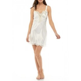 California Dynasty Satin Embroidered Chemise Ivory wpOaFY7x