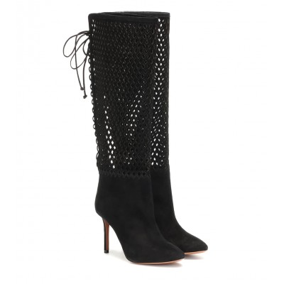 Alaïa Perforated suede knee-high boots P00413971 pqM1pDtI