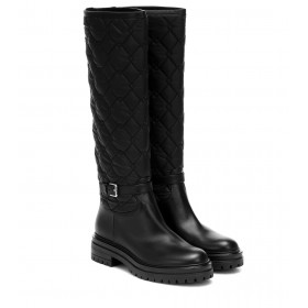 Gianvito Rossi Leather-trimmed knee-high boots P00436456 XLqIRYux